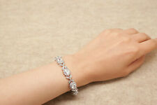 "2.00 Carat White GOLD Diamond Bracelet in Sterling Silver Finish - 7.5"" 18k"