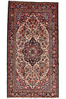 Vintage Persìan Malayer 5'x10' Ivory Wool Hand-Knotted Oriental Rug