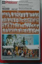 Preiser 16359 Mittelaltermarkt 125 unbemalte Miniaturfiguren HO NEU