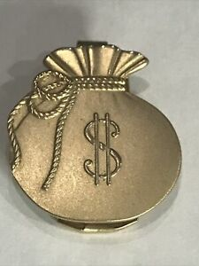 Vintage ANSON Money Bag Money Clip with $ Dollar Sign Gold Tone