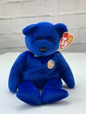 TY Beanie Babies Collection Retired Clubby The Blue Bear July, 1998 W/ Errors