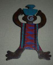 FINKS Primitive Cut Metal Painted Folk Art Tribal Ethnic Pin Brooch 4 x 2 3/4