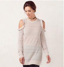 Lauren Conrad Cold Shoulder Cream Beige Tunic Sweater Ruffled Size XS ExtraSmall