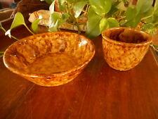 Bennington Spongeware pottery vintage small bowl & custard marked 169