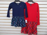 Girls Nautica $36.50-$38.50 Navy or Red Long Sleeved T-Shirt Dresses Size 4 - 10