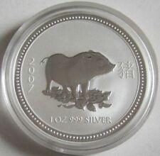 Australien 1 Dollar 2007 Lunar I Schwein 1 Oz Silber