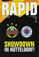 Programm   2018-2019   Rapid Vienna v Glasgow Rangers   UEFA Europa League
