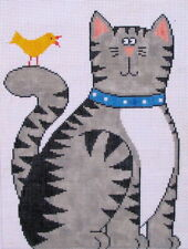 Cat 'n Canary Hand Painted Needlepoint Canvas