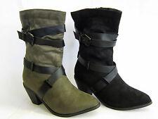 No Pattern Textile Upper Cuban Boots for Women