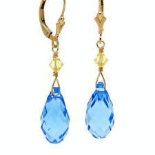 ● VERGISSMEINNICHT ● Kristall Pampel Ohrringe in  Blau ygf 14k Gold 585