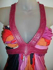 Sky Brand Clothing NWT XS Top Leather Western Halter Pink Bright Pattern Party