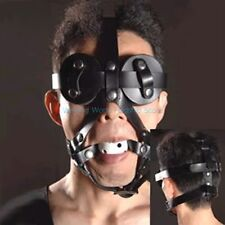 PU Leather Goggles Mask Eye Mask + Breathable Open Mouth Ball Slave Harness