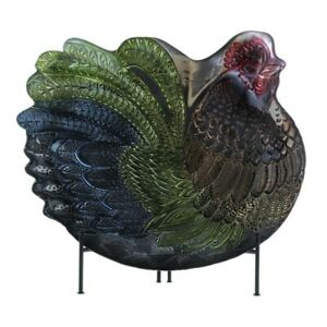 Colorful Decorative Rooster Platter Plate Glass w/ Metallic Finish