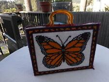 Knitting Bag Basket Initials KFL Butterfly Tortoise shell look Handles Crafting