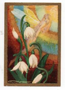 Antique Swedish Postcard. Snowdrops & Rainbow Fairy by Gunnar Widholm