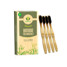 4 Pack Bamboo Toothbrush Organic Biodegradable BPA Free Charcoal Soft Bristles