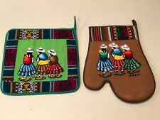 New listing Embroidered Potholder and Oven Mitts from Peru