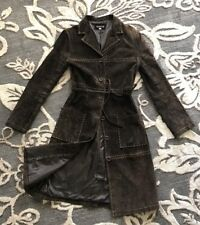 BEBE Brown Suede GENUINE Leather Thick Stitch Trench RARE Coat Size XS- EUC!!