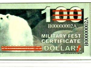"$1 or $100?? ""MILITARY FEST CERTIFICATE"" (SERIES 101) ""000000002* LOWWW SERIAL!!"