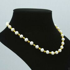 """7-8mm Natural White Akoya Freshwater Pearl 4mm yellow Jade Necklace 18"""""""