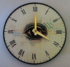 Steampunk clock. Small clock. Vinyl clock. Unique clock. Clock with eye image.