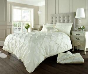 PINTUCK ALFORD QUILT DUVET COVER Diamond Bedding Set & Pillow Cases In All Sizes