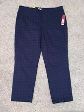 NWT New Women's Merona Blue Casual Pants Size 14 Ankle Classic Fit
