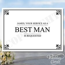 Will you be my Best man Usher Groomsman Invitation Invites Personalised postcard
