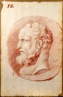 Belle Sanguine XVIIIe Dessin Ancien Portrait Homme Old Drawing Red Chalk