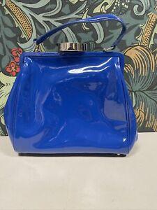 Lulu Guinness Patent Leather Handbag - Blue  - Defects (M22)