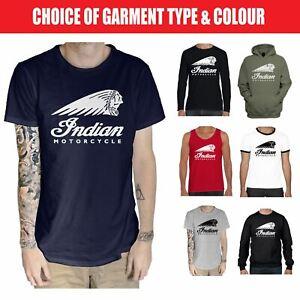 Indian Motorcycle T Shirt - Motorbike Biker Café Racer - Hoodie Vest Top