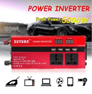 5000W Car Caravan Power inverter DC 12V to AC 220V Sine Wave 4 USB Converter UK