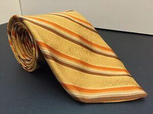 Robert Talbott Chelsea Mens Neck Tie Gold Brown Orange Diagonal Stripe 60L 3.75W
