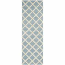 Blue/Ivory Hand-Tufted Moraccan Wool Runner Rug 2' 3 x 11'