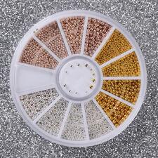 NEW Mixed Size Metallic DIY Nail Art Studs Gems Beads GOLD SIVER ROSE GOLD UK