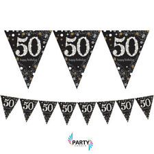 50th Birthday Party Supplies Sparkling PENNANT BANNER 13 Ft Wide