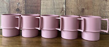 5 Vintage Tupperware #1312 Pink/Mauve Stackable Cups/Mugs