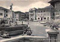 Cartolina Calalzo di Cadore Piazza animata auto d'epoca 1970