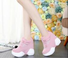 Sweet Womens Creeper 12cm Wedge Heels Lace Up Sneakers Athletic Shoes Fashion