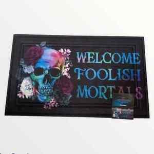 Welcome Foolish Mortals Gothic Halloween Doormat Indoor Entrance Mat Skull Roses