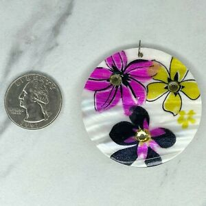 Floral Painted Rhinestone Mother of Pearl Shell Upcycled Pendant