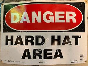 DANGER HARD HAT AREA Metal Sign 10x14 Lightweight