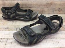 Earth Mango Black Leather Adjustable Ankle Strap Sandals Women's sz 11