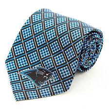 Carolina Panthers Mens Silk Necktie NFL Football Checkerboard Fan Blue Neck  Tie 488413bc9