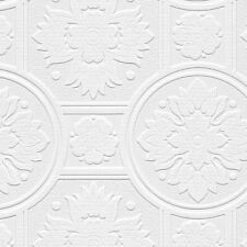 Paintable Heavy Texture Large Ornate Medallions Tile Wallpaper 48930