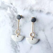 Handmade Beige Clay Stone Geometric Circle Surgical Steel Dangle Earrings