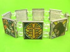 Stained Glass style Christian Stretchy Bracelet, Catholic, Out Of The Blue