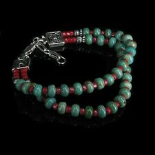 .925 Sterling Silver Green Turquoise Red Coral Bracelet