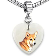 Welsh Corgi Dog Heart Dangle Mother Of Pearl European Bracelet Charm Bead EBS293