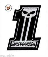 HARLEY DAVIDSON NUMBER 1 SKULL VEST PATCH * MED * MADE IN USA *DARK CUSTOM LOGO*